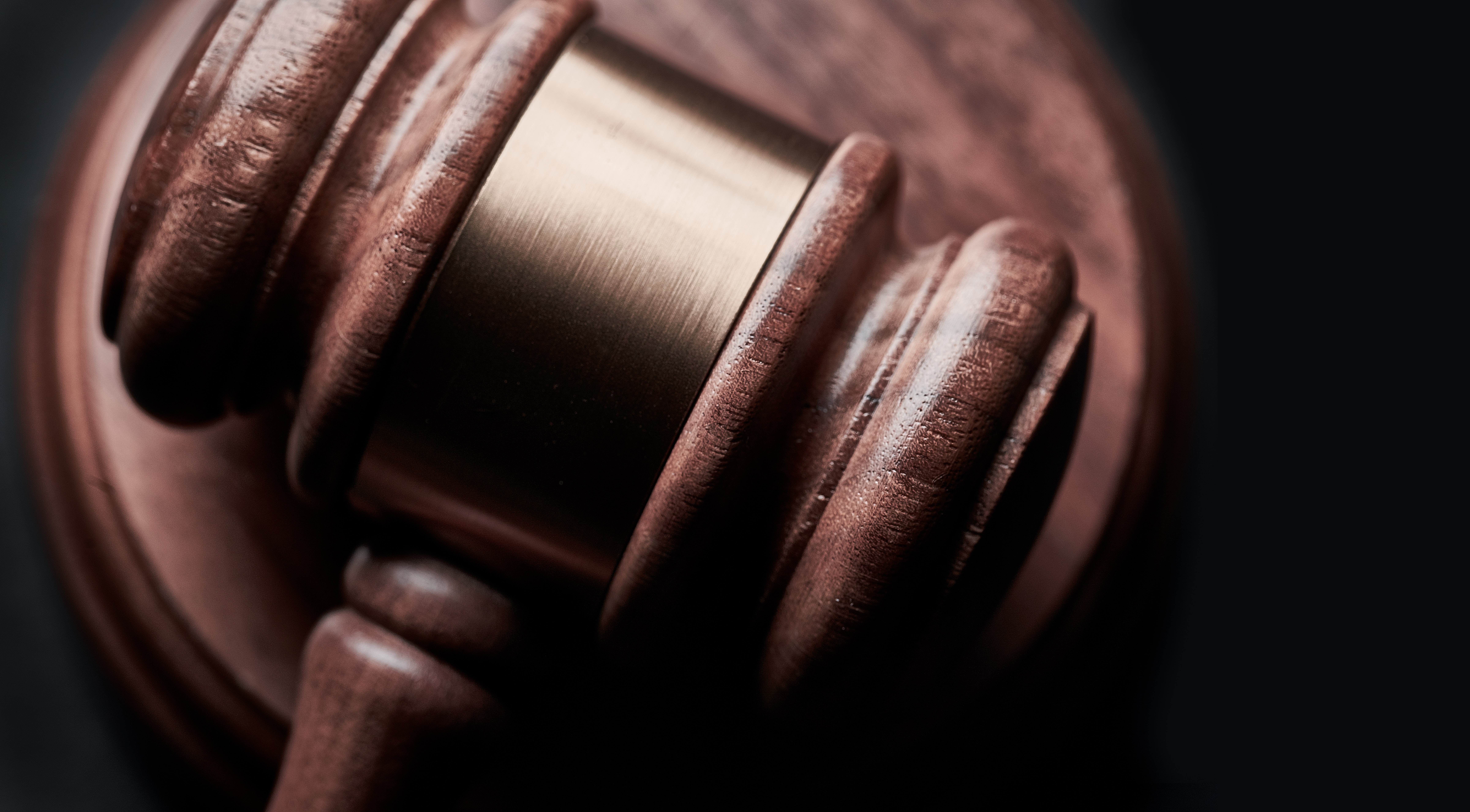 close up of wooden gavel from a court room